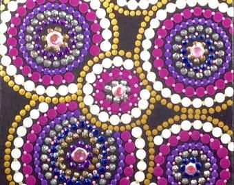 """MODERN / CONTEMPORARY / Original Design / Handmade / Dot Art / Wall Art / Pink / Acrylic Painting / 6""""x6"""" Canvas Panel / Wooden Easel"""