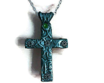 Pendant Cross,necklace cross.Studio made jewelry.Gift idea,unique jewelry.Polymer clay jewelry.Cross on chain. Cross on black leather rope.