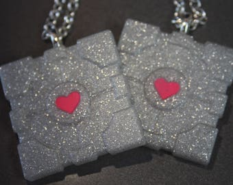 Glitter Portal Companion Cube Resin Necklace
