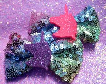 Glitter Pink OR Purple Unicorn Pastel Rainbow Sequin Bow Clip