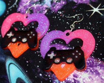 Gamer Controller Heart Neon UV Reactive Statement Earrings