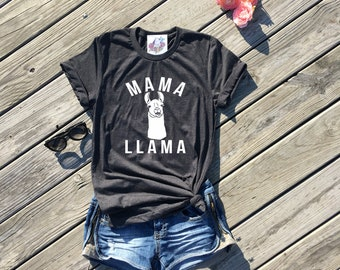 mom shirt, mom shirts, mama llama, dark grey unisex tee, mama llama shirt, gifts for mom, mom gift, mom life, mom life shirt, mommy and me