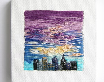Embroidered Skyline | Handmade | Wall Art | Home Decor |  | Minimalism | Tiny Art | Hand Embroidery | Textile Art | Canvas | Landscape