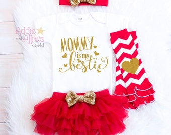 Baby Girl Clothes, Take Home Outfit, Mommy is my bestie, Baby girl outfit, Take Home Outfit, Red Gold Baby Girl Shower Gift Mommy's Girl G4R