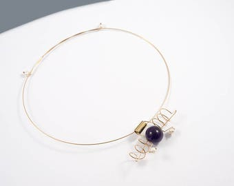 Stone necklace, Pearls jewelry, Purple necklace, Bronze necklace, Stone jewelry, Minimalist necklace, Brass jewelry, Amethyst jewelry, OOAK