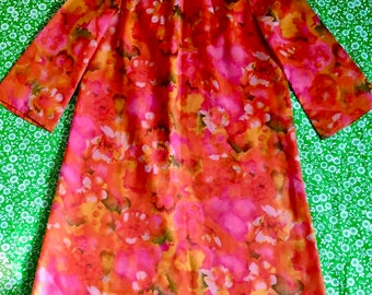 Vintage Floral Chiffon Rolled Collar Flared Three Quarter Sleeve Orange Pink Green Shift Dress Mod 60s Bright Colors Watercolor