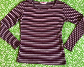 Vintage Striped Ribbed Long Sleeve Stretchy Top Shirt 80s 90s Stripes Energie