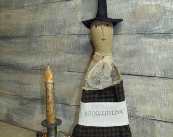 Primitive Witch Halloween/primitive halloween/doll/broom/hanger/fall/ primitive handmade/primitive witch/primitive doll/hearth broom