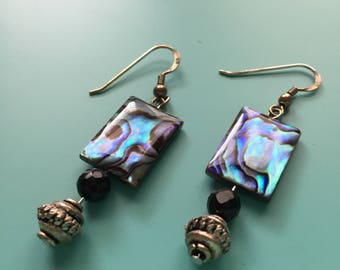 Silver Dangle Earrings / Silver Earrings / Abalone Shell / Handmade / Drop Earrings / Gift Wrapped, Bridesmaid Gift, Statement