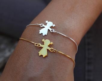 Layered Bracelet, Girl Bracelet, Child Bracelet, Dainty Bracelet, Tiny Bracelet, 24kt Gold Bracelet, Sterling Silver, Baby Bracelet