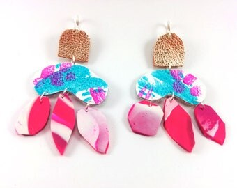 Abstract Earrings/ Neon pink/ Teal /Rose gold/ Dangle Earrings/  Drop Earrings/  Polymer Clay Earrings/ Painted leather/ Statement Earrings