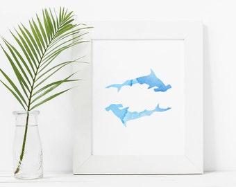Shark Watercolor Print, Ocean Nursery Decor, Hammerhead Shark, Blue Nursery Decor, Shark Wall Art, Blue Shark Print, Nursery Decor,
