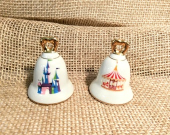 Vintage Mid Century Disneyland Souvenir Salt and Pepper Shakers with Castle and Carousel