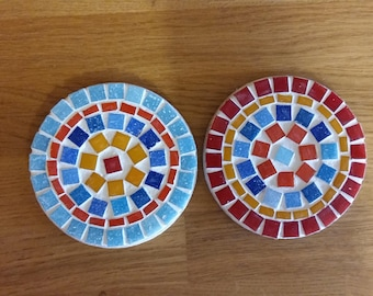 Round mosaic coasters