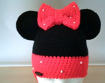 Crochet hat minnie mouse for girls