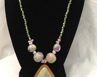 Polymer Green and Lavendar Monet-Inspired Bead Necklace