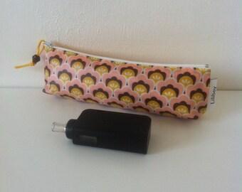 """trousse à crayons ou cigarette électronique """"Arbres roses"""" en coton enduit et similicuir"""