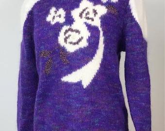 Amazing, vintage fluffy purple patterned sparkle jumper. Approx size 12
