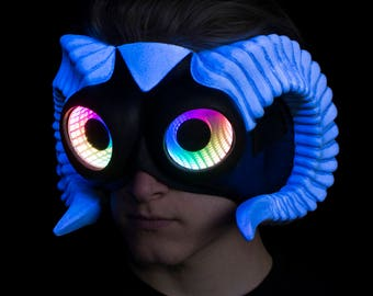 Faun Mask with Horns featuring Infintiy LED Lenses