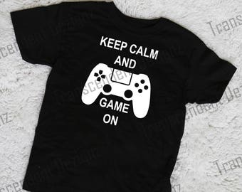 Keep Calm And Game On, Kids Gamer Shirt, Kids Christmas Shirt, Kids Birthday Shirt