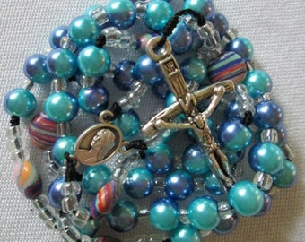 rosary,rosaries,catholic rosaries,roman cahtolic gifts,sister,mom,laity,priest,catholic rosaries,mother mary blue rosary
