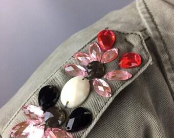 Vintage jacket Designer clothing Olive parka Size medium Embroidery Khaki trench Womens raincoat Cotton jacket Fall jacket Blazer US 10