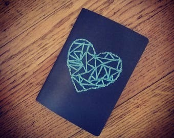 Embroidered heart with blue Notepad
