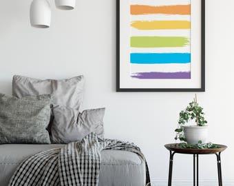 Pride Print, Modern Print, Pride Flag, Gay Wedding Gift, Painted Print, Rainbow Print, Wall Art, Home Decor, Gay Pride, Anniversary Gift