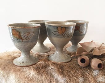 Set 4 Vintage handmade glazed pottery goblets - ceramic teacup - boho bohemian eclectic style decor home Australia - cup mug tea #0344