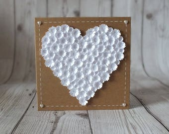 Flower Heart Card - Greetings Card, Anniversary, Wedding, Love, Valentines, Birthday, Mother's Day, Engagement