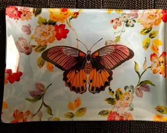Beautiful Vintage Style Butterfly All Purpose Glass Display Dish