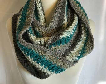 Chunky Winter Cowl, Thick and Warm, Blue, Grey, White, Charcoal