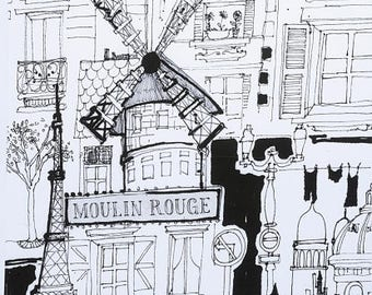 TheFabricEdge- Moulin Rouge by Alexander Henry- Fabric by the yard- Paris, Eiffel Tower, Cotton Wove,  Quilting Cotton - The Fabric Edge