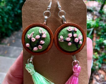 Cherry blossom - embroidered earrings