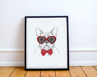 French Bulldog Print, French Bulldog Gift, French Bulldog Art, Dog Illustration, Cute Dog Print, Dog in red glasses, Bulldog, Printable Dog