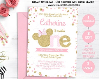 Pink and Gold Minnie mouse birthday invitation, Polka dot First Birthday, 1st Girls invite Editable invitation template, Instant download