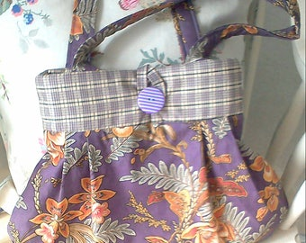 Pretty Purple Floral Print Bag, handbag, shopping bag