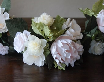 Crepe paper blush and cream bridesmaid's bouquet - Peony rose and poppy arrangement