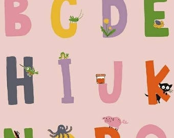 PREORDER - Heather Ross - Alphabet in Pink - Kinder - (43481-1) - 1/2 Yard++