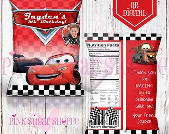 Cars Favor Bags - Custom Potato Chip Bags - Cars 3 Birthday Party - Cars - Digital - Printable - Printed - Chip Bags