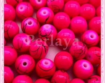 Set of 100 filament REF753 effect 8mm pink glass beads