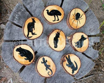 Australian Animals, Hand Painted, Reclaimed Timber Wood Rounds, Story Telling, Kindergarten/Classroom  Resources, Handmade, Education