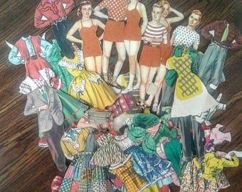Vintage Paper Dolls Self-Adhesive 1950's Sticks With Felt 5 Dolls