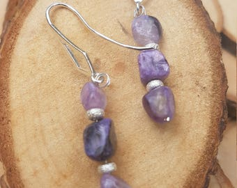 charoite earrings with sterling silver stardust bead and shepherd hooks