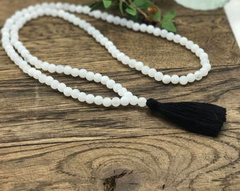 Beaded Tassel Necklace, Tassel Necklace, White Beaded Necklace, Bead Necklace Boho, Black Tassel