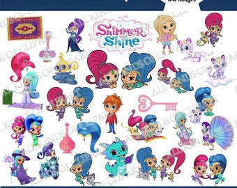 50 SHIMMER AND SHINE Clipart, Iron On Transfers, Stickers, Decals,  Png file Format, Transparent Backgrounds