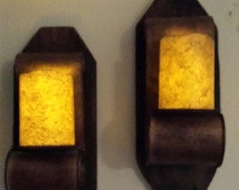 Rustic Antique Style Candle Holder Wall Sconces with LED Primitive Candle 1 pr.