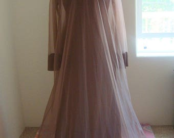 Vintage Brown 60s Nightgown with sheer Overlay/Robe Blanche collection by Ralph Montenero