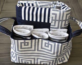 Baby Gift Set, Baby Blanket, Burp Cloths, Fabric Tote, Navy/White/Gray
