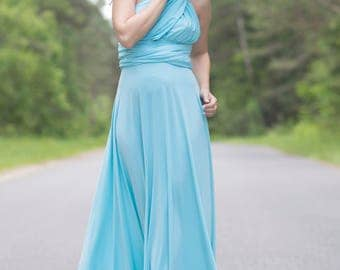 Light blue Bridesmaid dress, light blue infinity dress, light blue convertible dress, light blue maternity gown,light blue multiway dress